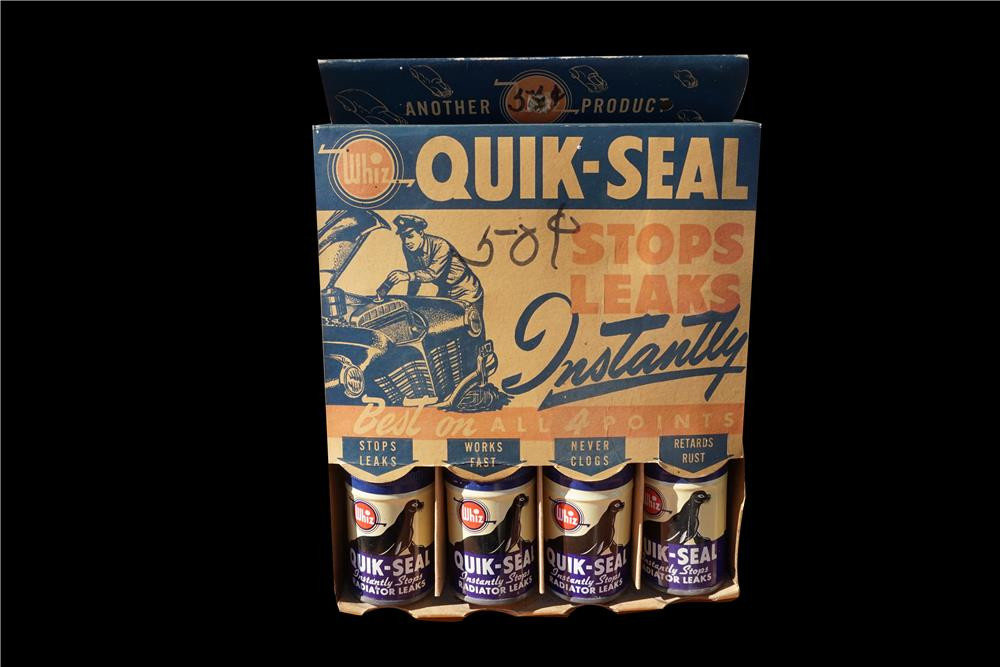 NOS Whiz Quik-Seal automotive garage display piece filled with original Whiz tins. - Front 3/4 - 191983