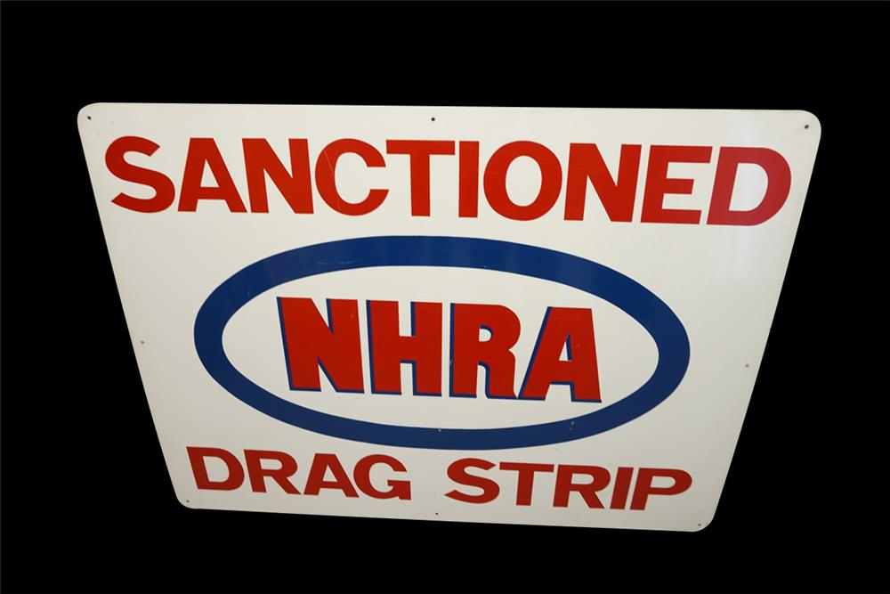 Vintage NHRA Sanctioned Drag Strip single-sided tin sign. - Front 3/4 - 191989
