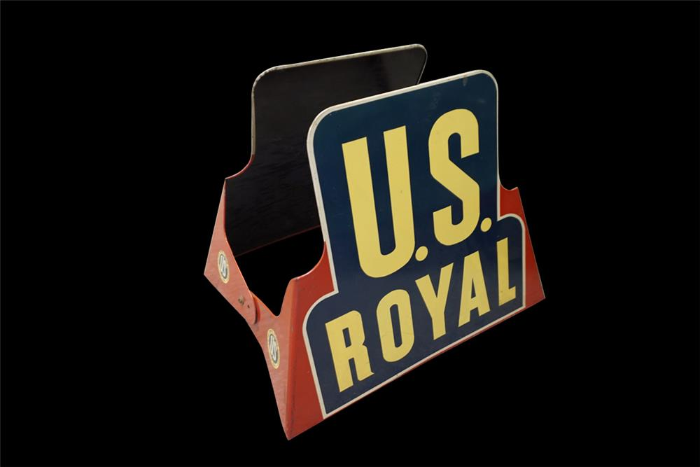 NOS 1940s U.S. Royal Tires service station metal display sign. - Front 3/4 - 191991