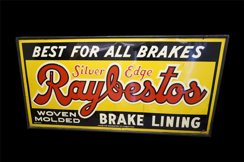 Large 1930s Raybestos Brake Lining single-sided wood framed tin automotive garage sign. - Front 3/4 - 191992