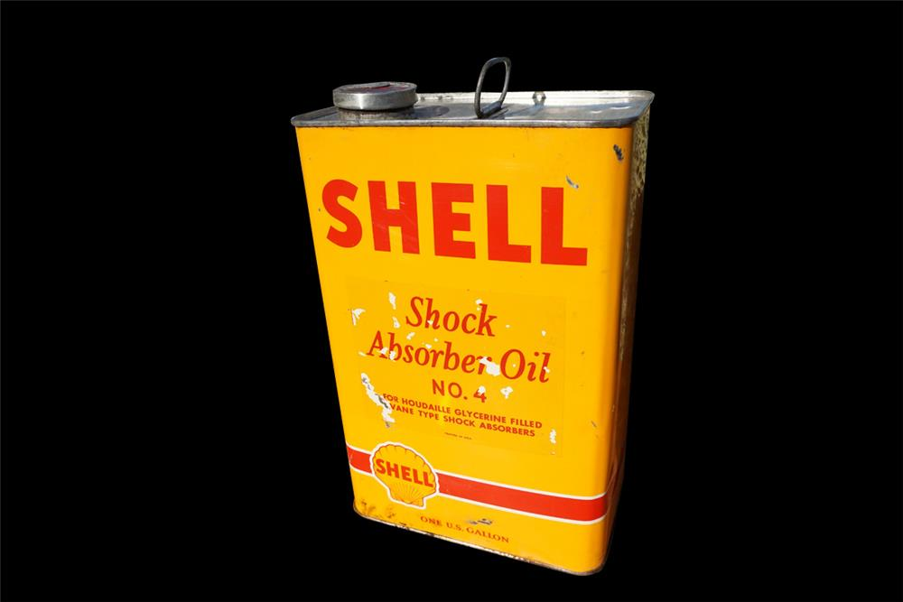 NOS 1940s Shell Shock Absorber Oil Number four one-gallon tin still full. - Front 3/4 - 192002