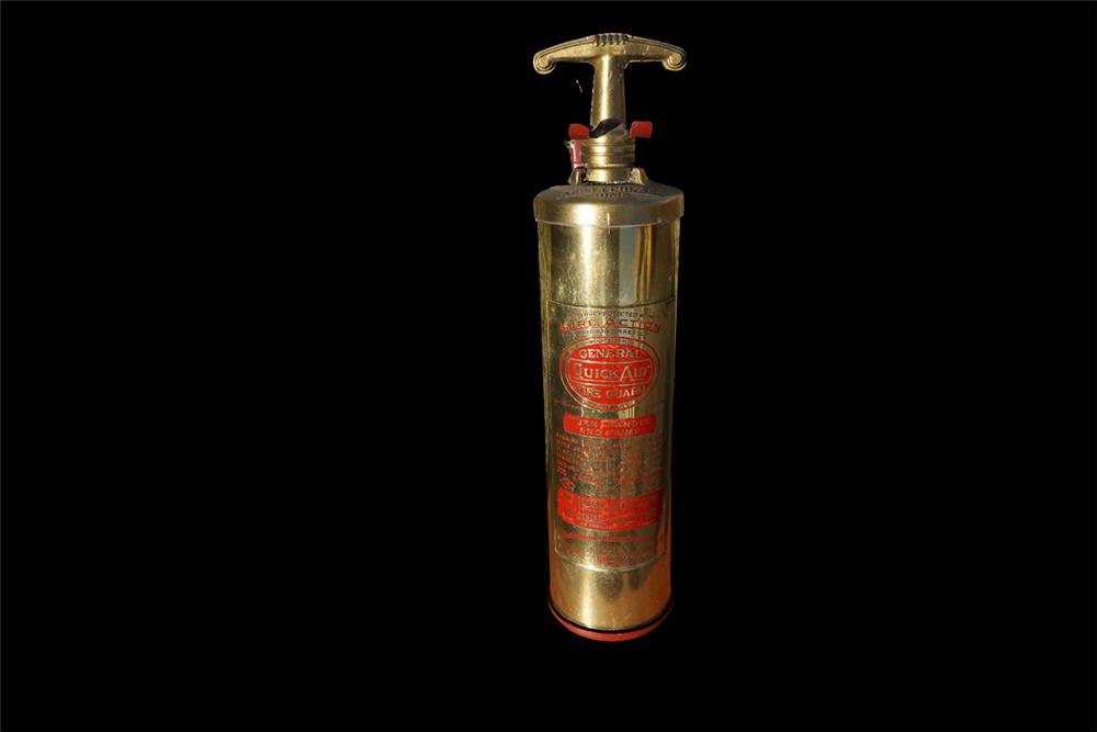 1920s-30s General Quick Aid Fire Guard delivery truck cab mount brass fire extinguisher. - Front 3/4 - 192011