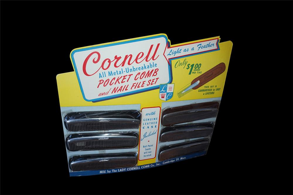 NOS 1940s-50s Cornell All Metal Pocket Comb and Nail File service station countertop display found unused. - Front 3/4 - 192014