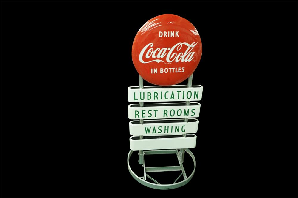 1950s Coca-Cola service station double-sided porcelain curb sign with porcelain buttons. - Front 3/4 - 192019