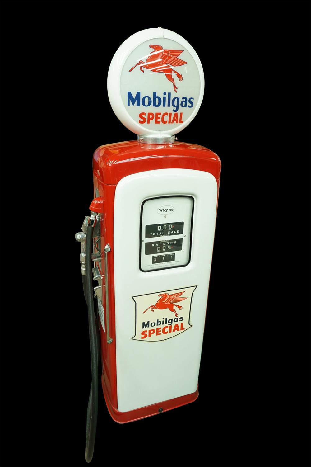 Perfectly restored Mobil Oil Wayne 80 service station gas pump. - Front 3/4 - 192020