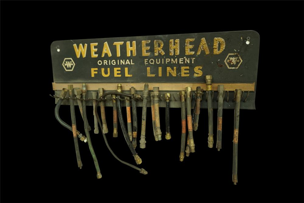 Circa 1930s-40s Weatherhead Fuel Lines service station metal display full of original product. - Front 3/4 - 192025