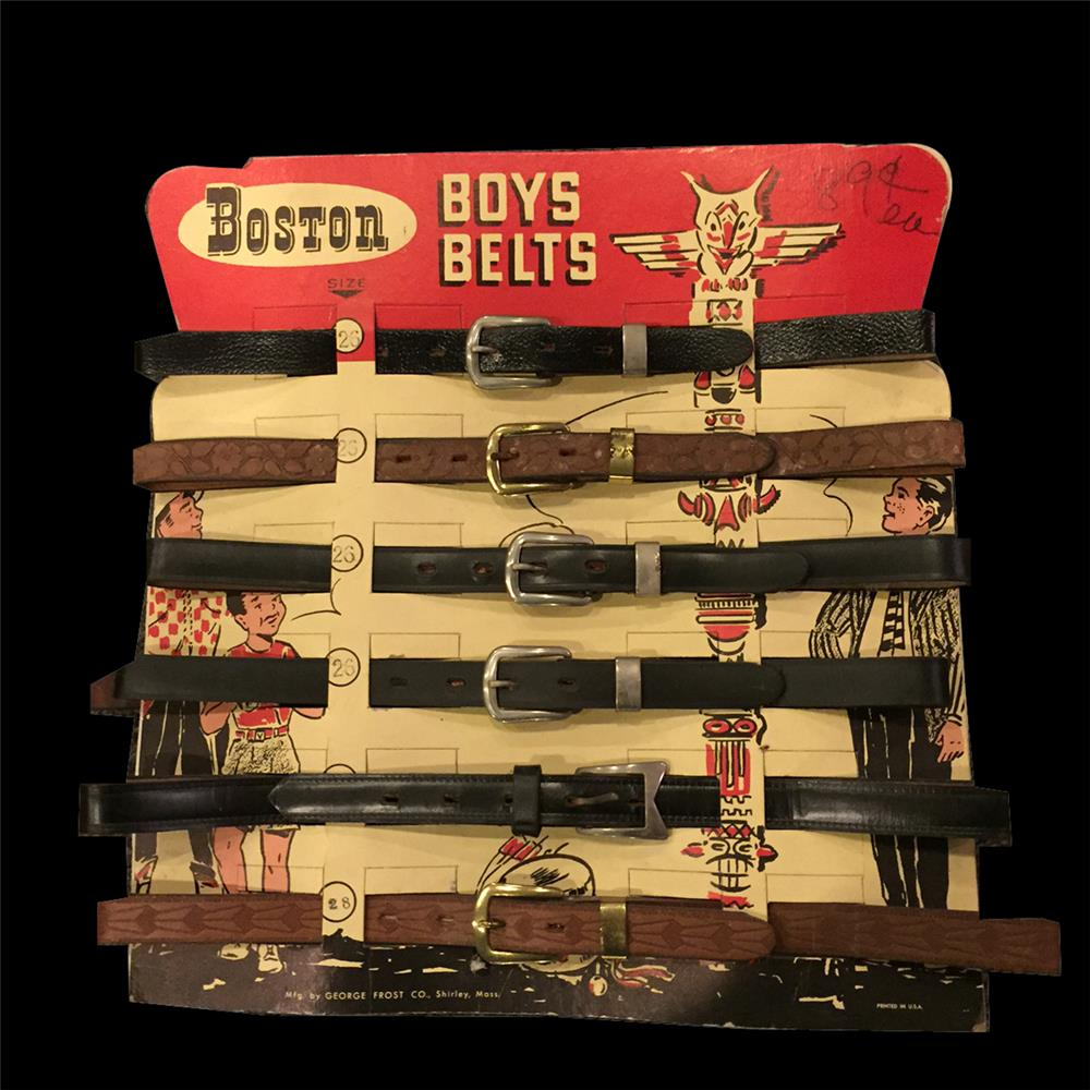 Circa 1950s Boston Boys Belt in store cardboard display still full of original product. - Front 3/4 - 192051