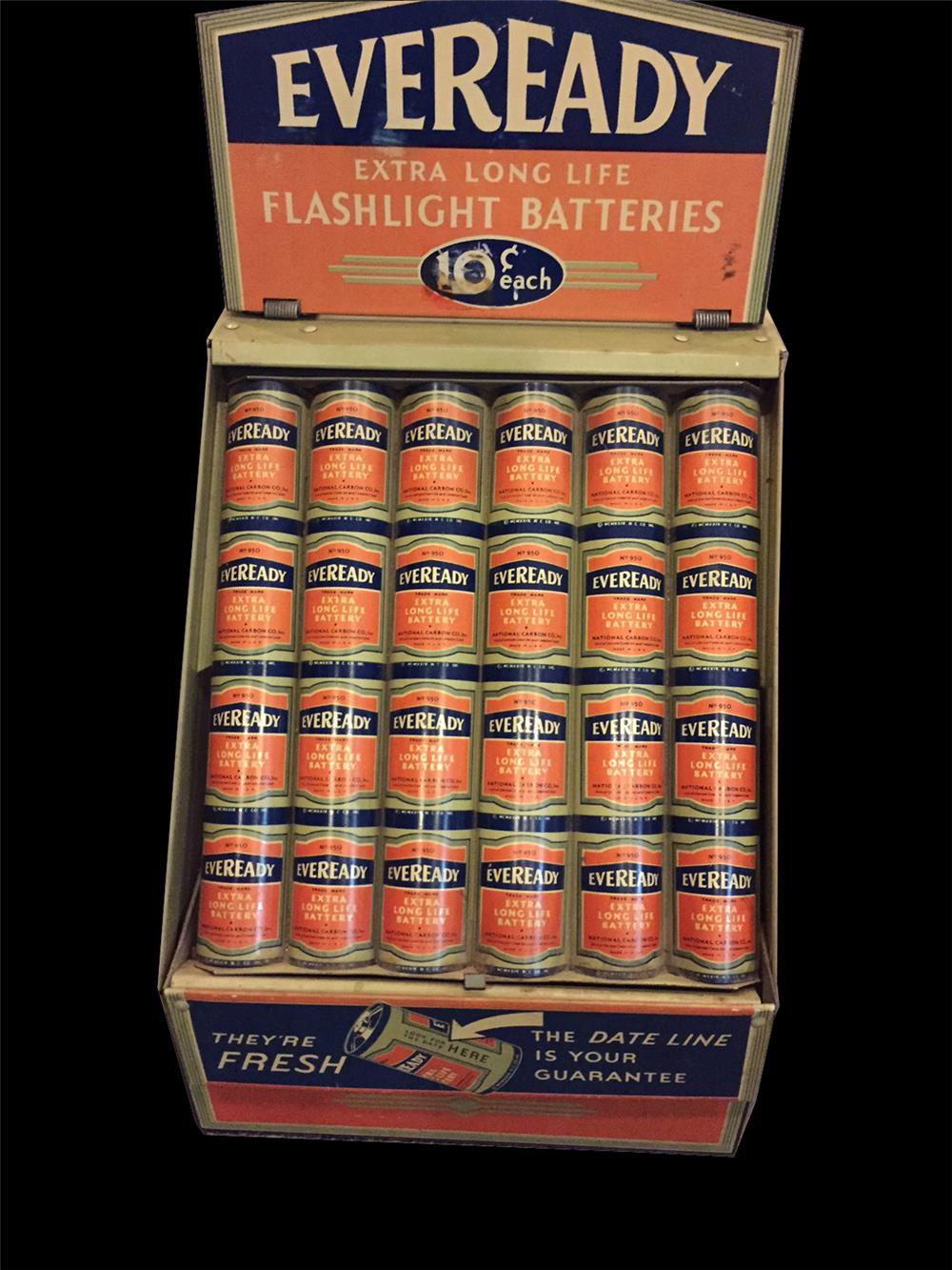 Early 1930s Eveready flash light batteries counter-top metal display. - Front 3/4 - 192055