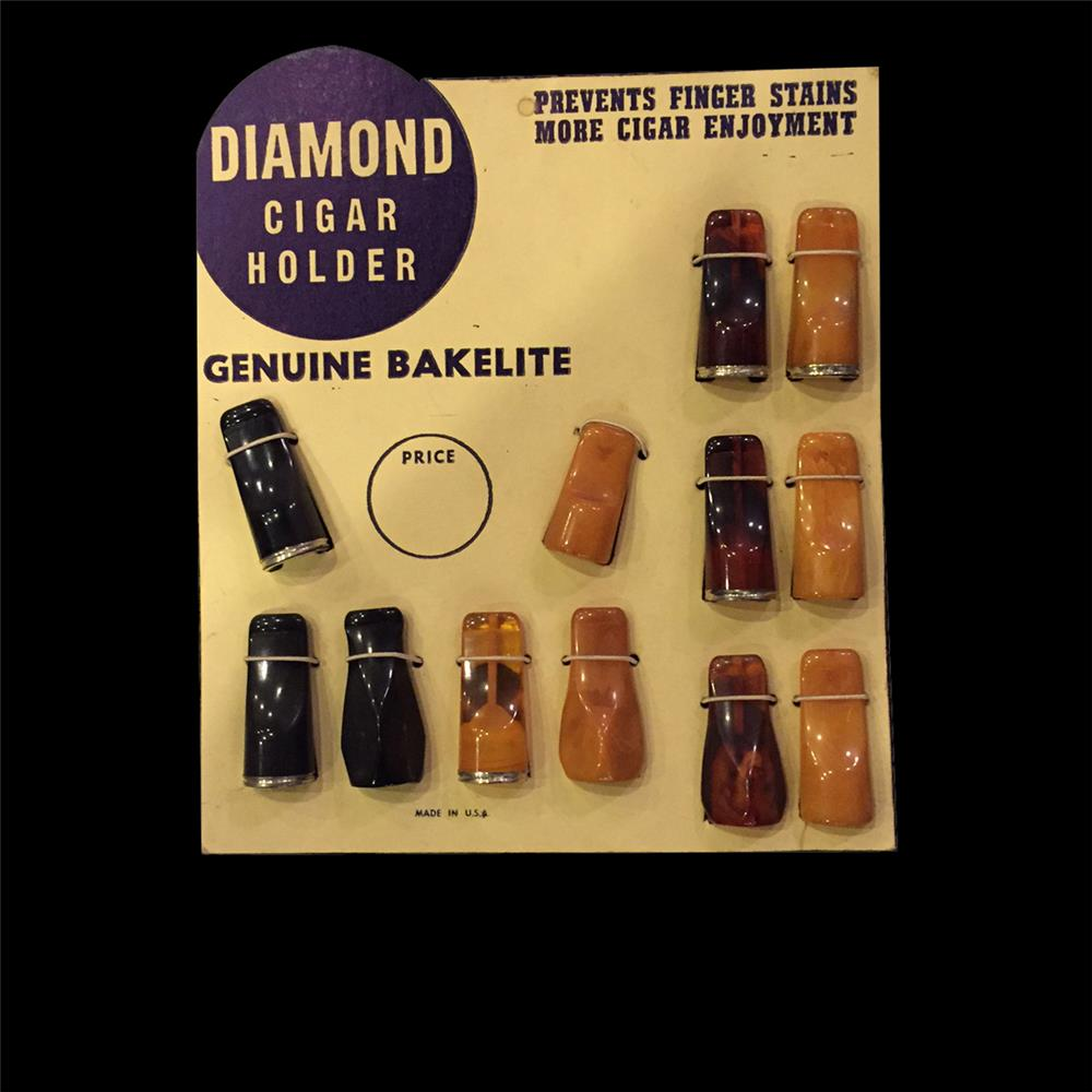 Circa 1930s-40s Diamond Bakelite Cigar Holder countertop display still full of unused product. - Front 3/4 - 192057