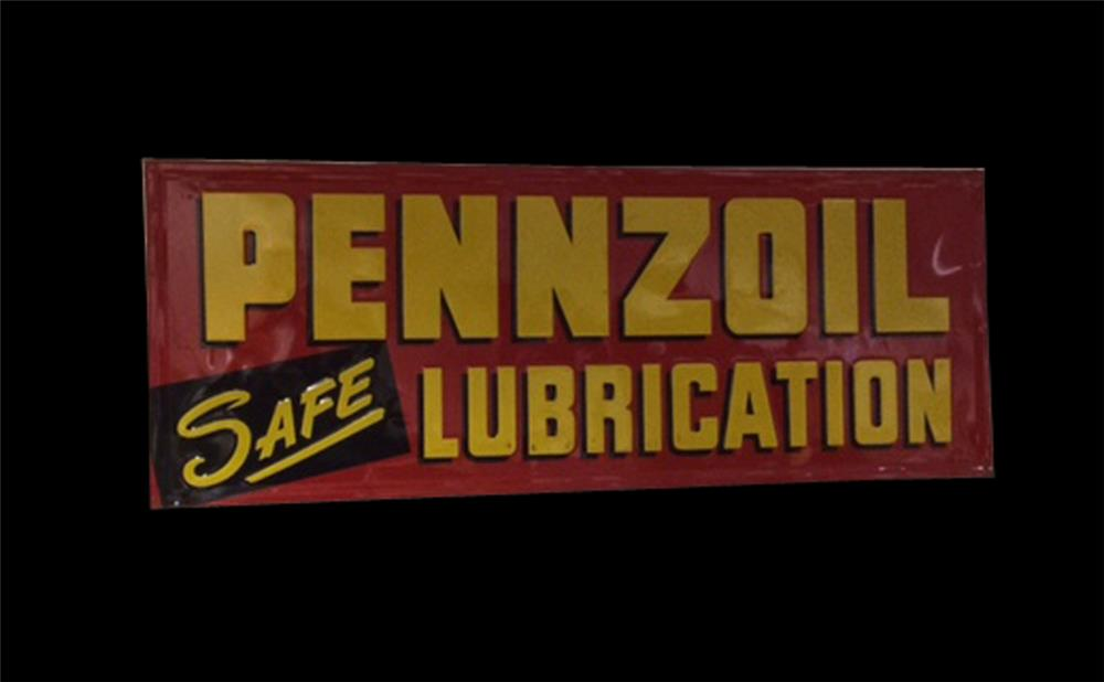 Very clean Pennzoil Safe Lubrication single-sided embossed tin garage sign. - Front 3/4 - 192062
