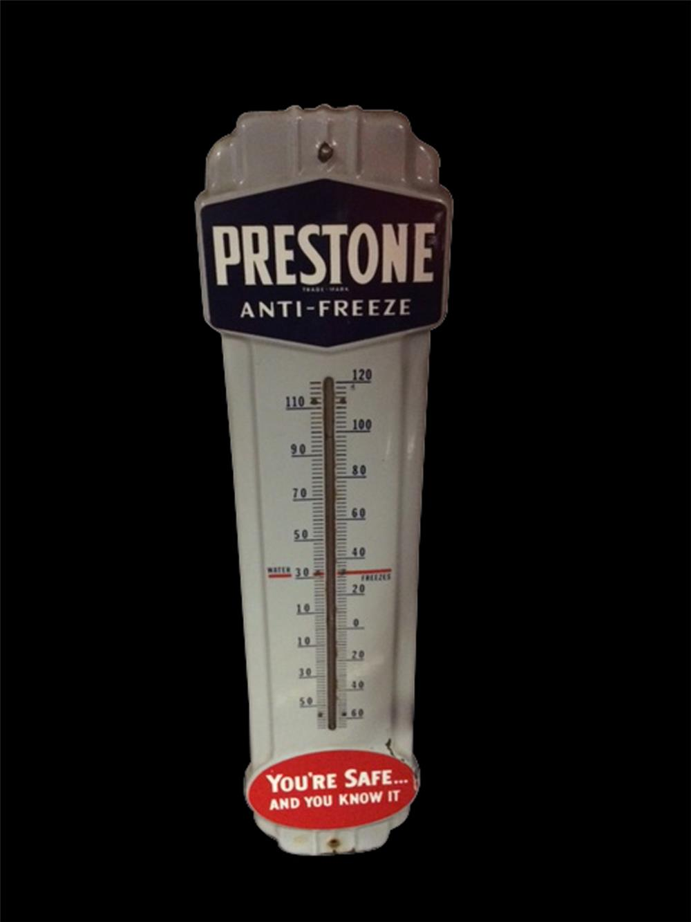 Wonderful circa 1940s Prestone Anti-Freeze vertical porcelain automotive garage thermometer. - Front 3/4 - 192063