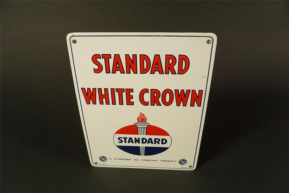 NOS 1951 Standard White Crown Gasoline single-sided porcelain pump plate sign - Front 3/4 - 192083