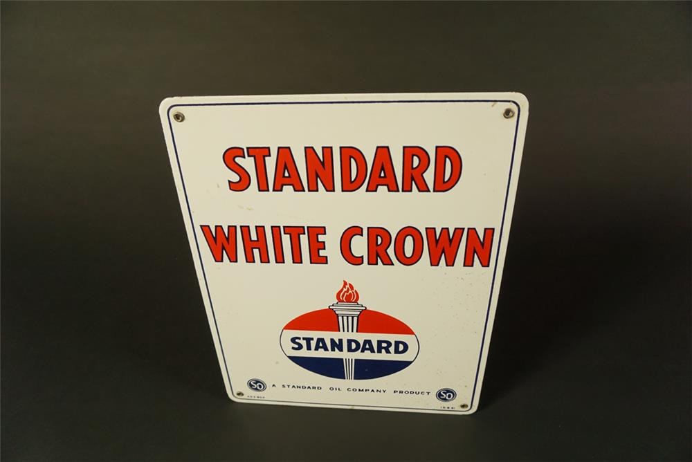 NOS 1951 Standard White Crown Gasoline single-sided porcelain pump plate sign - Front 3/4 - 192084