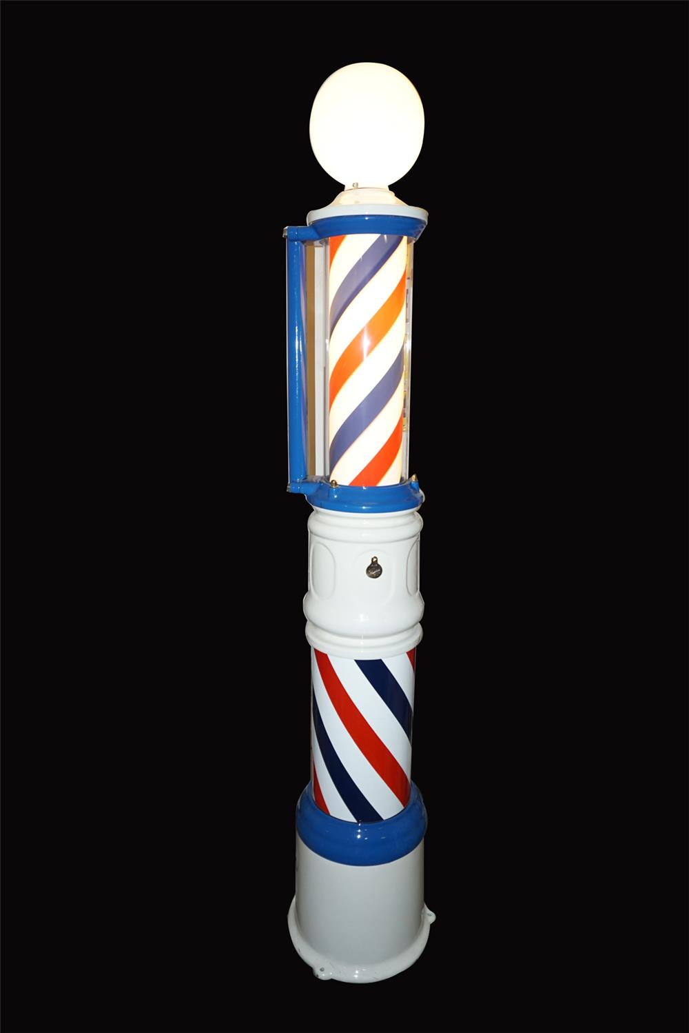 Museum quality 1930s Paider floor model porcelain barber pole. - Front 3/4 - 192085