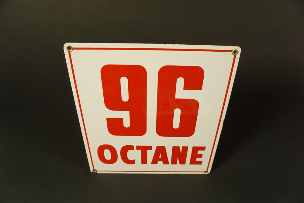 Very clean early 1960s 96 Octane single-sided porcelain pump plate sign. - Front 3/4 - 192088