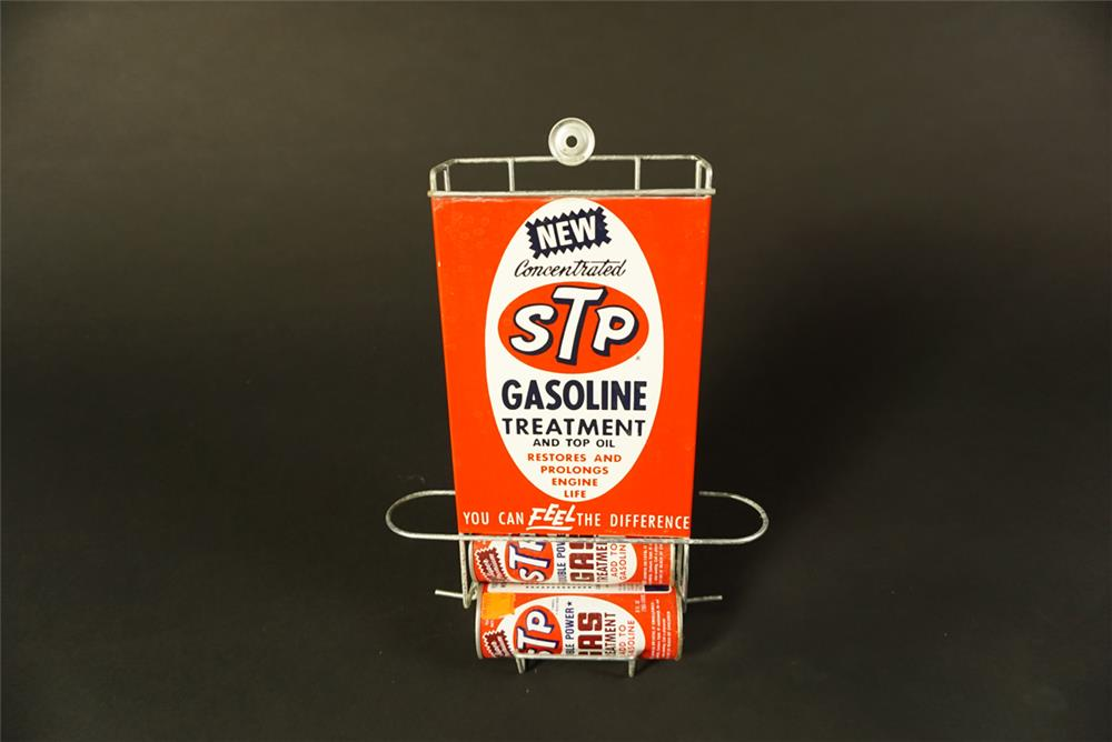 NOS 1960s STP Gasoline Treatment wall mount service station display with tins. - Front 3/4 - 192092