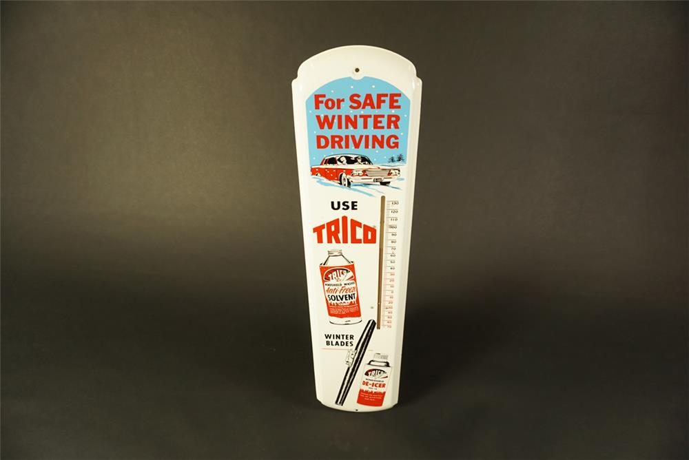 NOS 1960s Trico Winter Windshield Service die-cut tin garage thermometer with outstanding graphics. - Front 3/4 - 192096