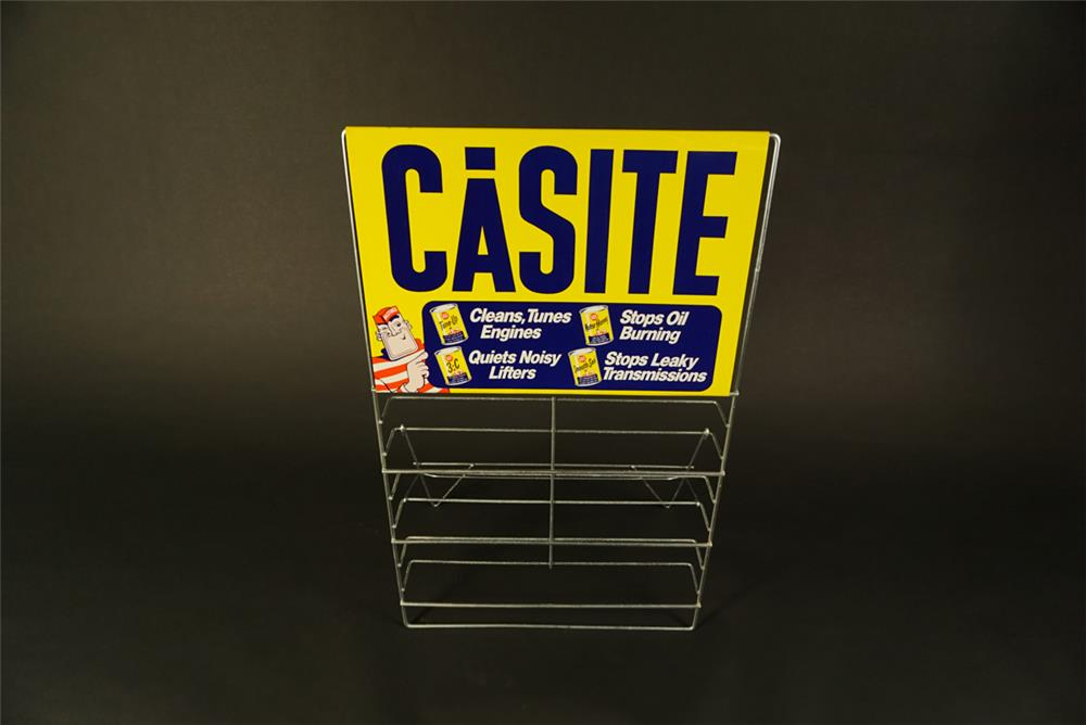 NOS 1960s Casite Engine Additive service station metal display rack found unused. - Front 3/4 - 192099