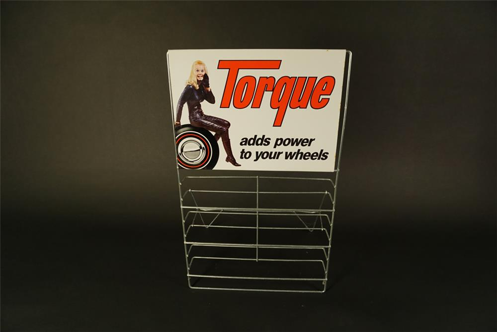 "Choice NOS late 1960s Torque ""adds power to your wheels"" service station metal display rack found unused. - Front 3/4 - 192101"