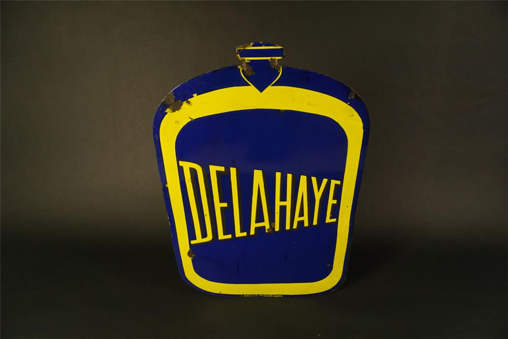 Extremely rare 1930s Delahaye double-sided porcelain radiator shaped dealership sign. - Front 3/4 - 192102