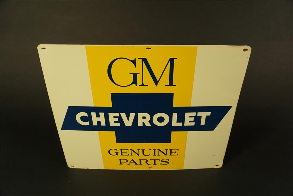 Circa early 1960s GM Chevrolet Genuine Parts single-sided tin dealership sign with bow-tie logo. - Front 3/4 - 192104