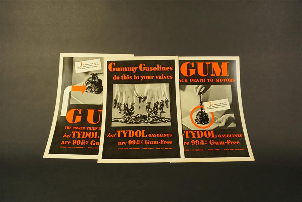 "Lot of three NOS 1930s Tydol ""Gum-Black Death to Motors"" service station display cardboard sign. - Front 3/4 - 192109"