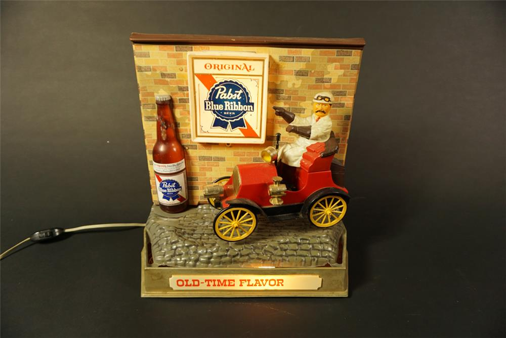 "Wonderful 1960s Pabst Blue Ribbon Beer ""Old Time Flavor"" automotive brass era themed display piece with rotating tires. - Front 3/4 - 192111"