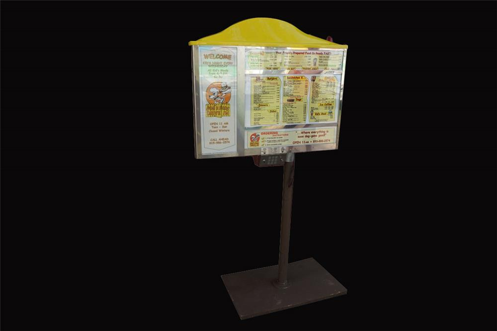 Highly desirable Dogs-N-Suds drive-in light-up menu board with speaker. - Front 3/4 - 192112