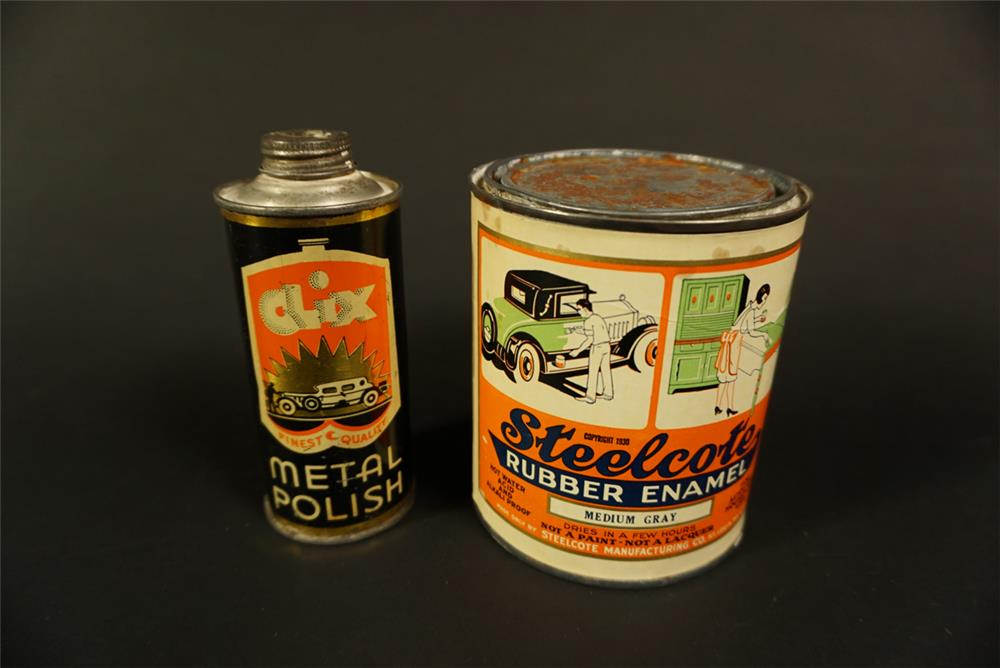 Lot consisting of a 1920s Clix Automotive Metal Polish tin and a 1920s Steelcote Rubber Enamel tin. - Front 3/4 - 192119