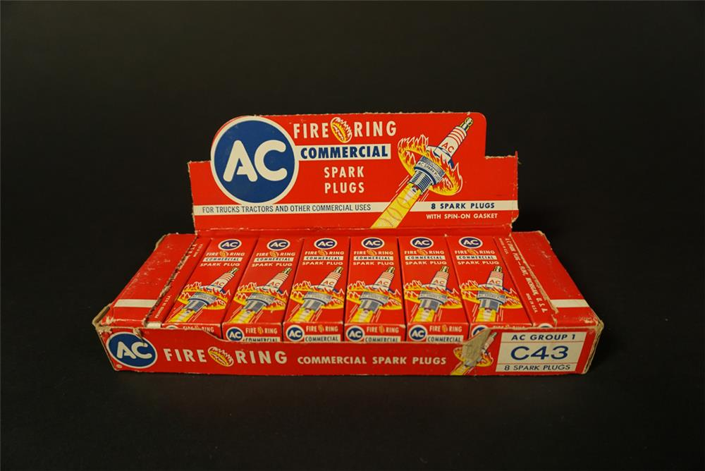 Fantastic vintage NOS AC Fire Ring Spark Plugs counter-top display box still full of unused plugs. - Front 3/4 - 192120