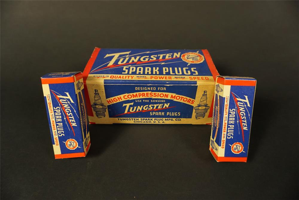 Uncommon NOS 1930s Tungsten Spark Plugs service department countertop display box still full and unused. - Front 3/4 - 192122