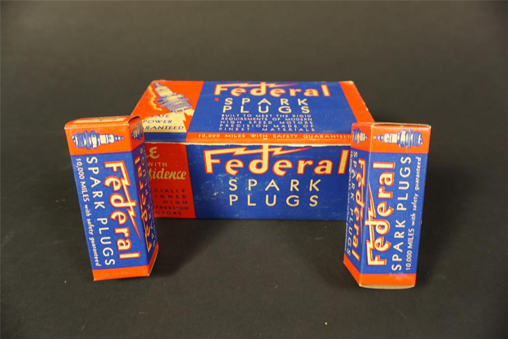 Sharp NOS 1930s Federal Spark Plugs filling station countertop display still full of unused plugs. - Front 3/4 - 192126