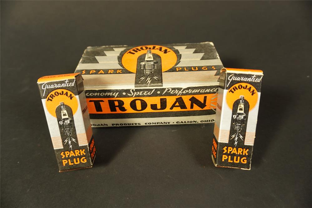 Scarce 1930s Trojan Spark Plugs automotive garage countertop display box still full of unused plugs. - Front 3/4 - 192128