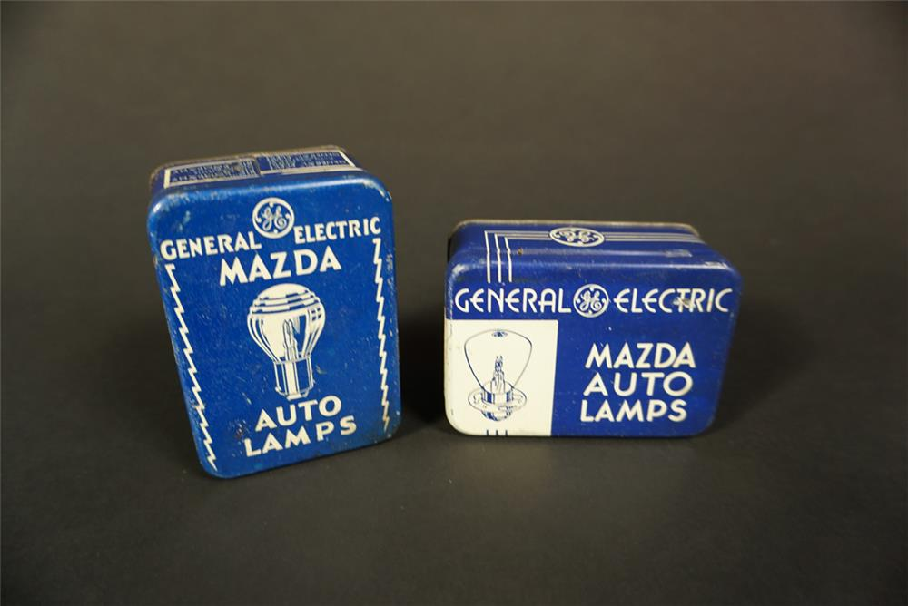 Lot of two 1930s GE Mazda Auto Lamps emergency bulb kit tins. - Front 3/4 - 192129