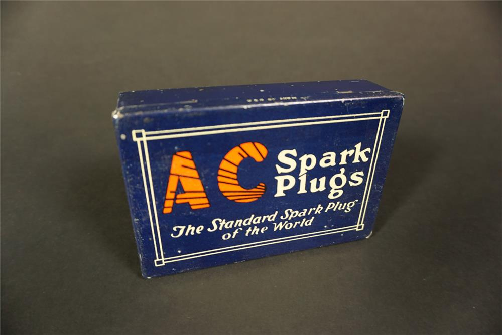"Very clean circa 1930s AC Spark Plugs ""The Standard Spark Plug of the World"" countertop display tin. - Front 3/4 - 192130"