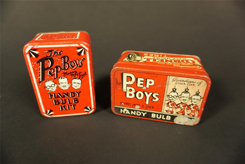 Lot of two 1930s Pep Boys Handy Bulb Kit tins. - Front 3/4 - 192132