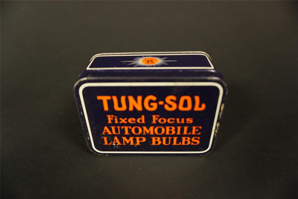 Immensely clean late 1920s Tung-Sol Fixed Focus Automobile Lamp Bulbs tin - Front 3/4 - 192135