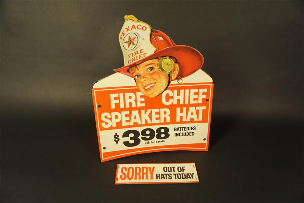 "Scarce NOS 1960s Texaco Fire Chief Speaker Helmet double-sided station cardboard display with ""Sorry Out of Hats Today"" sign. - Front 3/4 - 192141"