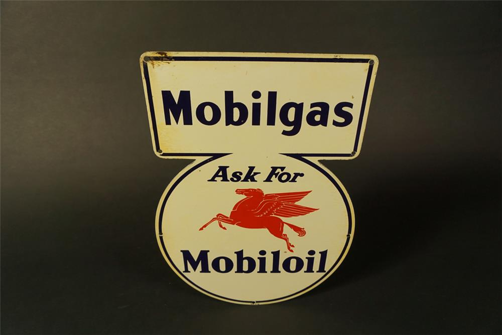 "Sharp NOS 1941 Mobilgas ""Ask For Mobiloil"" single-sided die-cut tin sign with Pegasus logo. - Front 3/4 - 192146"