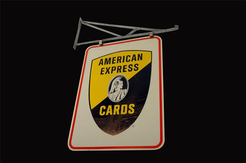 Magnificent NOS 1960s American Express Cards double-sided tin sign with original hanging bracket. - Front 3/4 - 192149