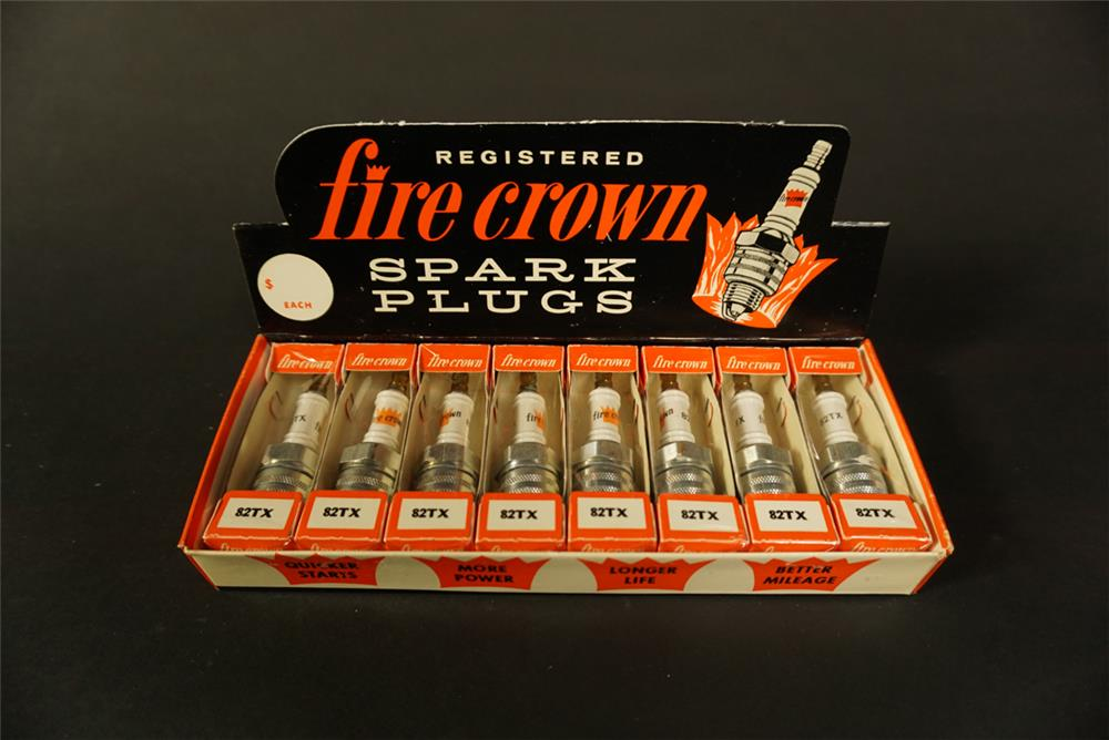 NOS 1960s Fire Crown Spark Plugs service department countertop display box - Front 3/4 - 192151