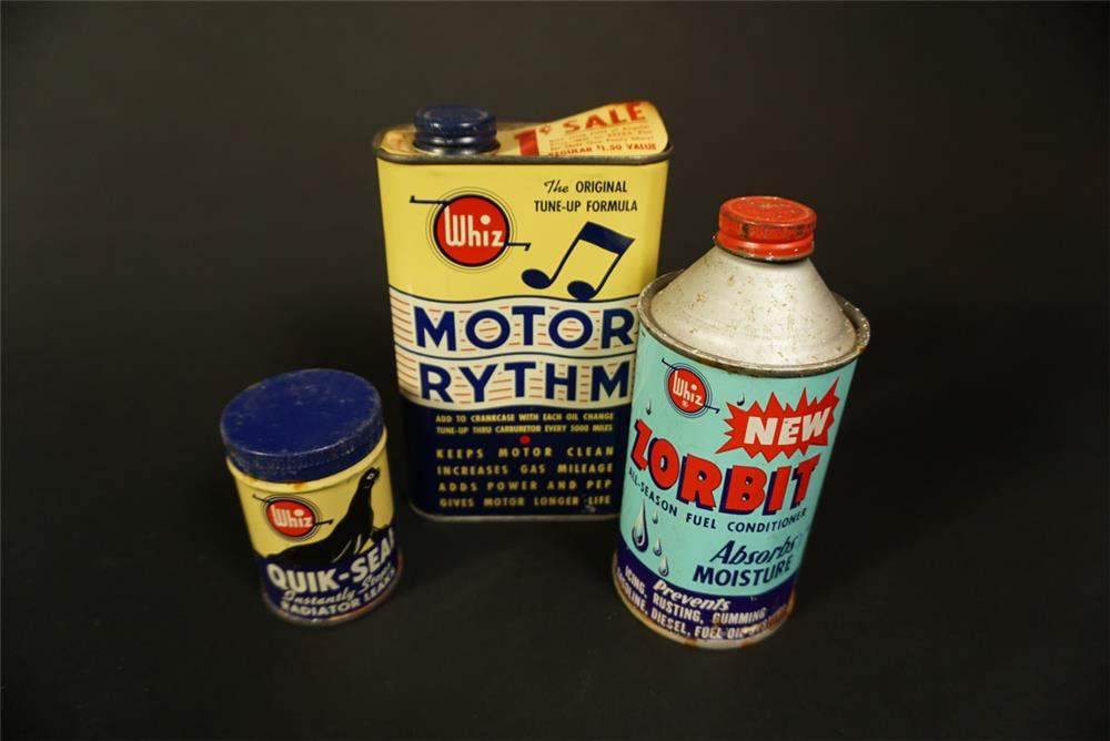 Lot of three 1940s-50s Whiz Automotive Treatment tins - Front 3/4 - 192152
