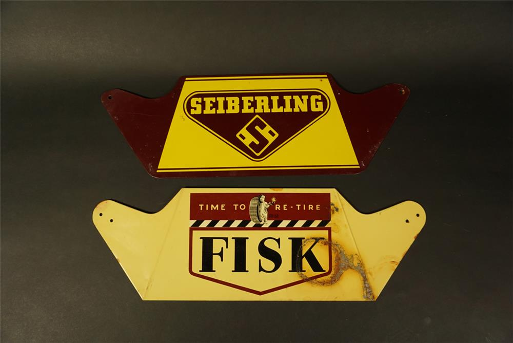 Lot of two 1950s service station metal tire display signs for Fisk and Seiberling. - Front 3/4 - 192154