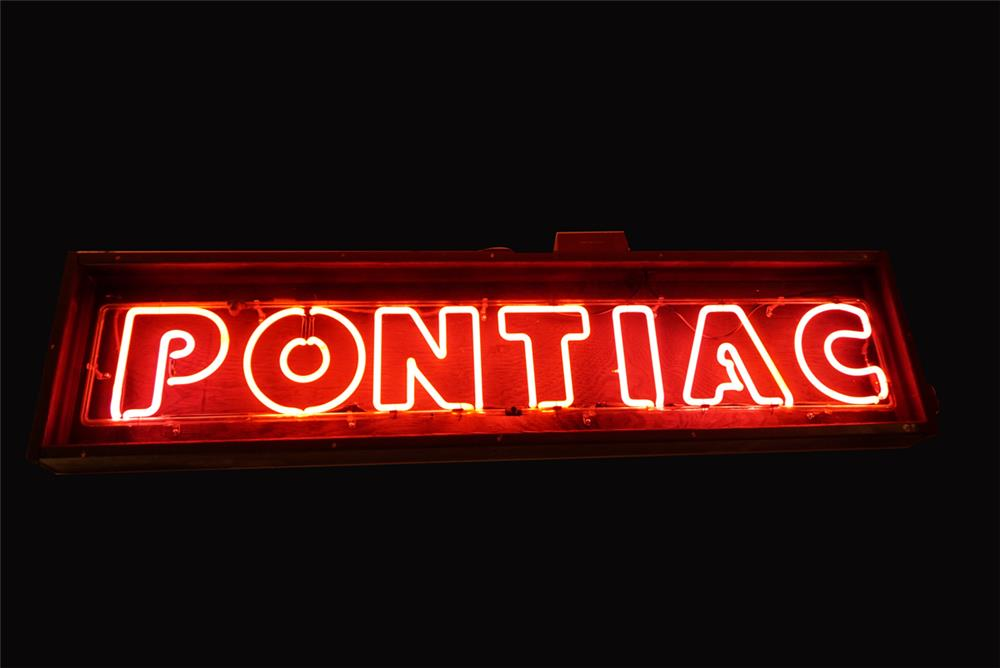 Stunning late 1950s-early 60s Pontiac Automobiles showroom sales neon sign. - Front 3/4 - 192164