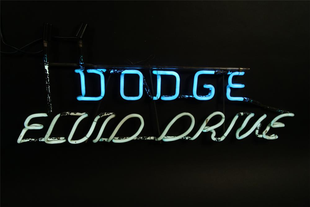 Highly prized 1940s Dodge Fluid Drive showroom sales neon sign. - Front 3/4 - 192167