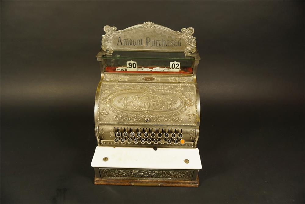 Gorgeous turn of the century National brass cash register model #332. - Front 3/4 - 192174