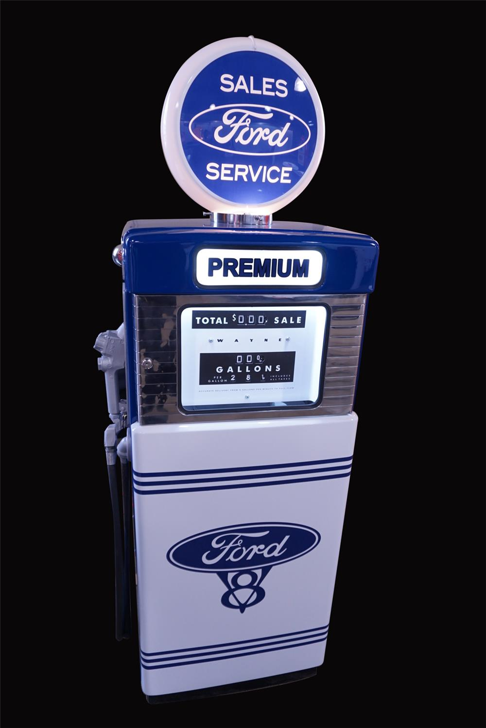 Wonderful late 1950s-early 60s Ford Automobiles Wayne model #505 restored service department gas pump. - Front 3/4 - 192178
