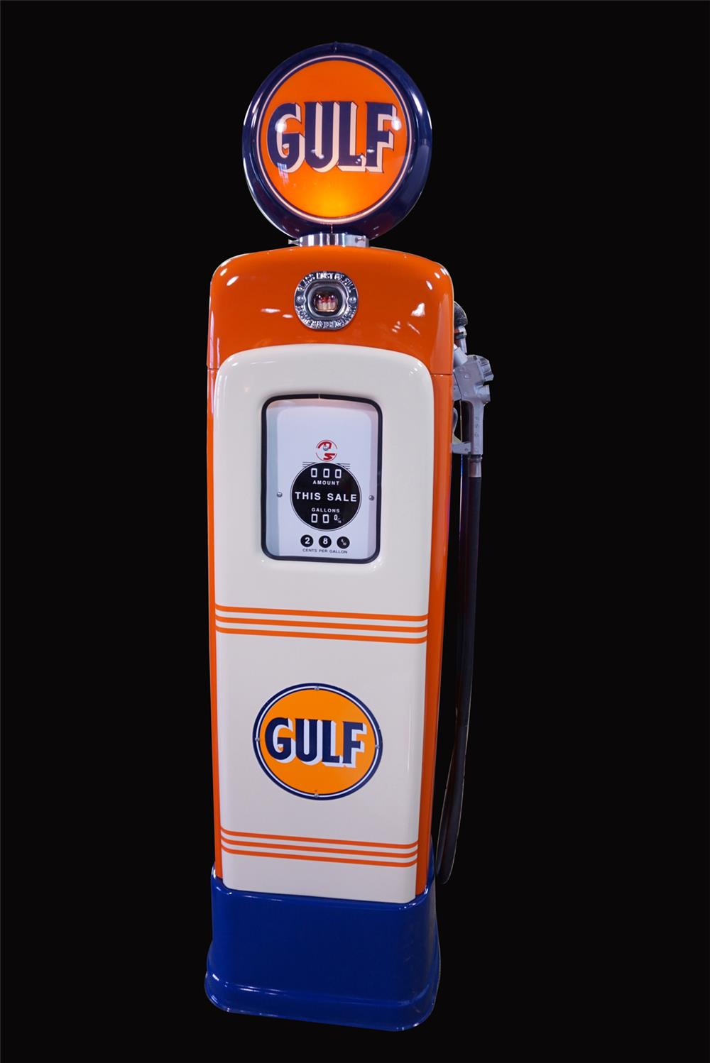 Near perfect 1946 Gulf Oil M&S 80 restored service station gas pump. - Front 3/4 - 192180