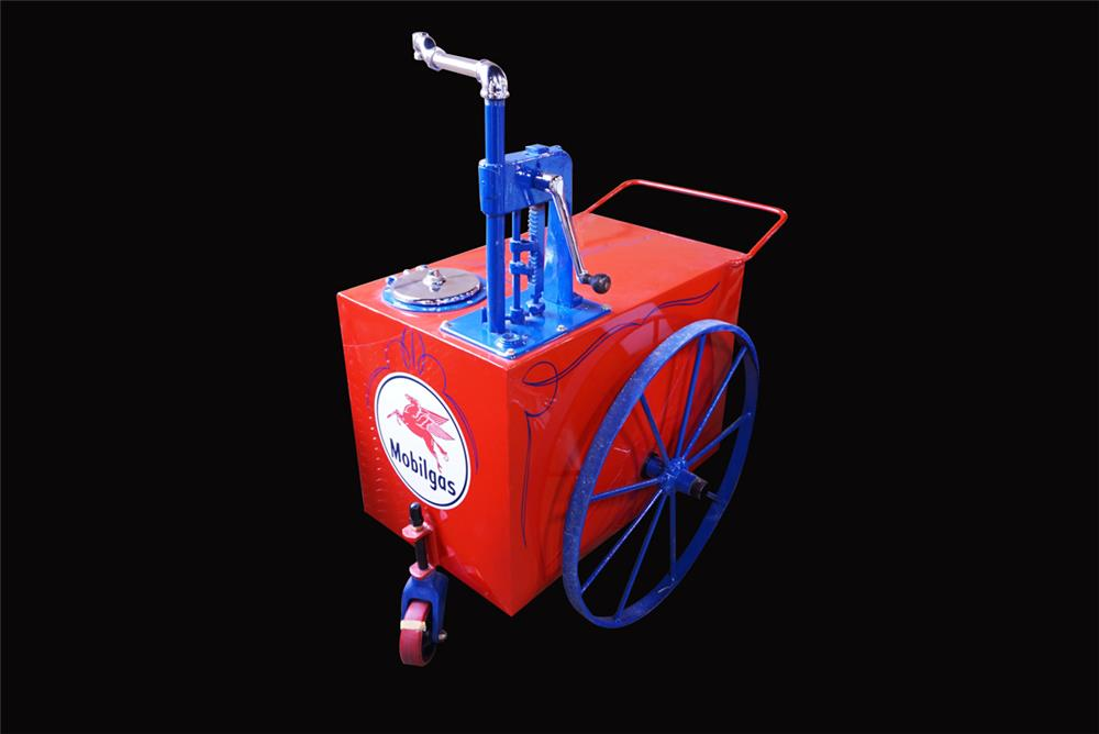 Nicely restored 1920s Mobil Oil hand crank filling station lubester cart. - Front 3/4 - 192182