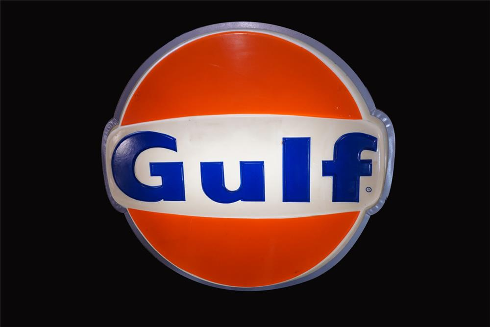 Sharp 1960s Gulf Oil single-sided light-up service station sign. - Front 3/4 - 192192